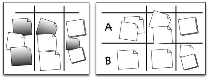 Für unterschiedliche Projekte eignen sich entweder unterschiedlich gefärbte Karten oder eigene Zeilen auf dem Whiteboard.